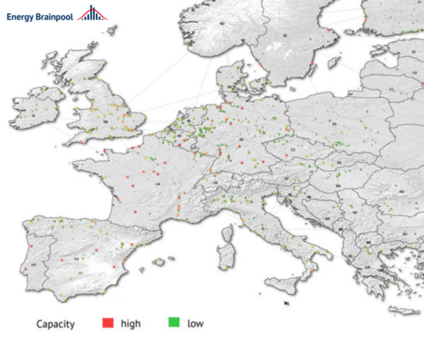 Capacity of conventional power plants in Europe